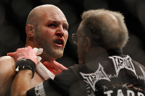 October 24, 2009; Los Angeles, CA; USA; Ben Rothwell is angered after being stopped by Cain Velasquez during their bout at UFC 104. Velasquez won via 2nd round stoppage.  Ed Mulholland for ESPN.com