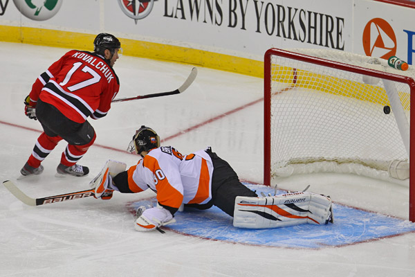 Jan 22, 2013; Newark, NJ, USA; New Jersey Devils left wing Ilya Kovalchuk (17) scores a penalty shot goal on Philadelphia Flyers goalie Ilya Bryzgalov (30) during the second period at the Prudential Center. Photo: Ed Mulholland