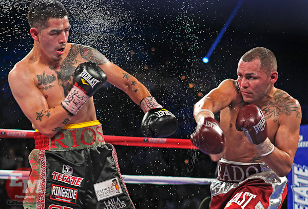 March 30, 2013; Las Vegas, NV; USA; Brandon Rios (left) and Mike Alvarado (right) managed to match the intensity and drama of their first fight in their HBO Boxing rematch at the Mandalay Bay Events Center.  Photo: Ed Mulholland/HBO **HBO USAGE ONLY**