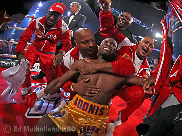 June 8, 2013; Montreal, Quebec, CAN - Adonis Stevenson celebrates his 1st round KO win over Chad Dawson to capture the Light Heavyweight World Championship.  Photo: Ed Mulholland/HBO **HBO USAGE ONLY**