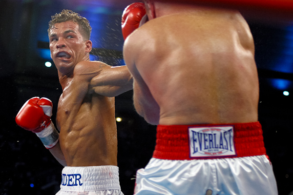 June 7, 2003; Atlantic City, NJ;  Arturo Gatti (left) fires a left hand to the head of Mickey Ward (right) during their second fight at Boardwalk Hall in Atlantic City, NJ.  This weekend Gatti will be inducted into the Hall of Fame.  Photo: Ed Mulholland