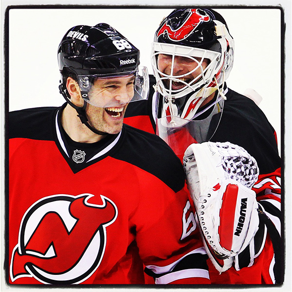 Dec 18, 2013; Newark, NJ, USA;  New Jersey Devils right wing Jaromir Jagr (68) and New Jersey Devils goalie Martin Brodeur (30) celebrate the New Jersey Devils 5-2 win over the Ottawa Senators at the Prudential Center.   Copyright: Ed Mulholland **NO UNAUTHORIZED USAGE**